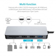 PLATINET adaptér USB-C na HDMI, 4K 7IN1