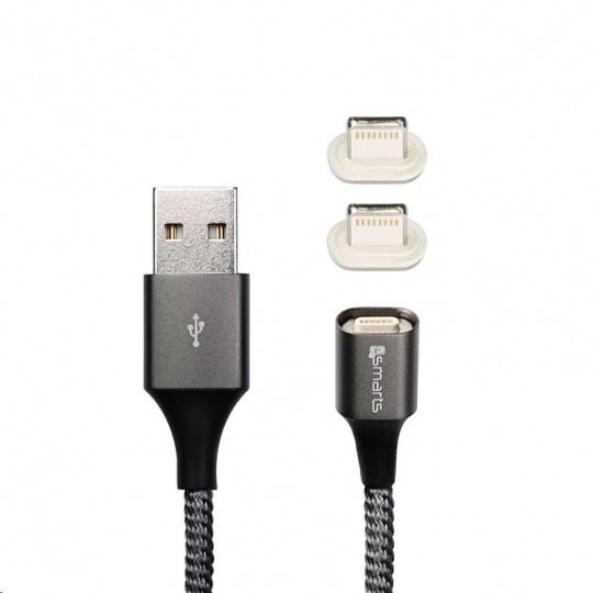 4smarts magnetický nabíjecí kabel GRAVITYCord 2.0, 2x konektor Lightning, 1 m, šedá
