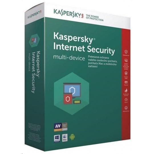 Kaspersky Internet Security 2019 CZ multi-device, 1 zařízení, 1 rok, obnovení licence, elektronicky