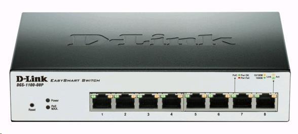 D-Link DGS-1100-08P 8-Port PoE Gigabit EasySmart Switch, 8x gigabit RJ45, PoE budget 64W, fanless