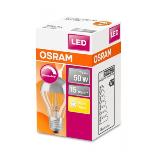 OSRAM LED SUPERSTAR CL A Filament Mirror Silver 7W 827 E27 650lm 2700K (CRI 80) 15000h A++ DIM (Krabička 1ks)