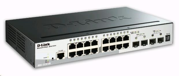 D-Link DGS-1510-20 20-Port Gigabit Stackable SmartPro Switch, 16x gigabit RJ45, 2x 10G SFP+ port, 2x SFP port