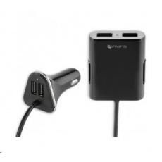 4smarts nabíječka do auta, 4x USB, 2,4 A, černá