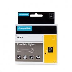 PRINTLINE kompatibilní páska s DYMO 1734524, 24mm x 3,5m, černý tisk / bílý podklad, RHINO, nylonová, flexibilní