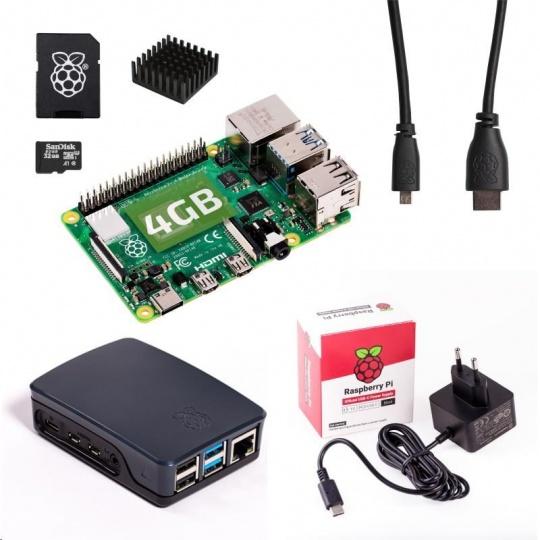 Raspberry Sada Pi 4B/4GB, (SDHC karta 32GB + adaptér, Pi4 Model B, krabička, chladič, HDMI kabel, napájecí zdroj), černá