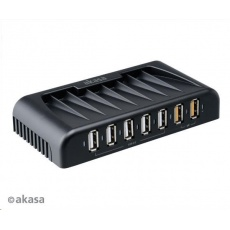 AKASA HUB USB Connect 7FC, 5x USB 2.0, 2 nabíjecí porty USB, externí, s napájecím adaptérem