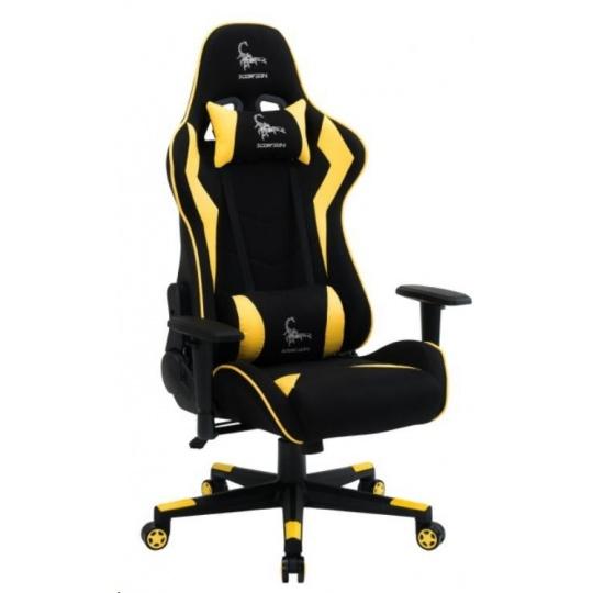 GEMBIRD Gaming chair / herní křeslo SCORPION 05, černá sítovina,žltá kůže