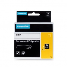 PRINTLINE kompatibilní páska s DYMO 1734523, 24mm x 5,5m, černý tisk / bílý podklad, RHINO, polyesterová