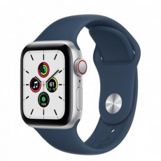 APPLE Watch SE GPS + Cellular, 40mm Silver Alum. Case with Abyss Blue Sport Band - Regular