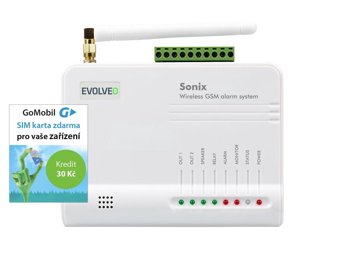 EVOLVEO Sonix - bezdrátový GSM alarm (4 ks dálk. ovl.,PIR čidlo pohybu,čidlo na dveře/okno,externí repro,Android/iPhone