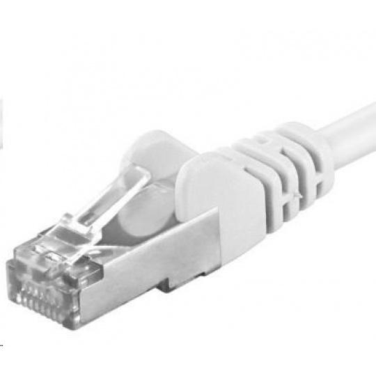 PREMIUMCORD Patch kabel CAT6a S-FTP, RJ45-RJ45, AWG 26/7 0,5m bílá