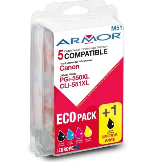ARMOR Sada náplní ARMOR B10281R1 (Pgi-550/Cli-551XL CMYK) pro tiskárny Canon.