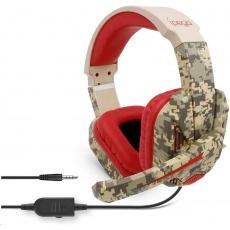 iPega herní stereo sluchátka s mikrofonem PG-R005, 3,5 mm jack, červená