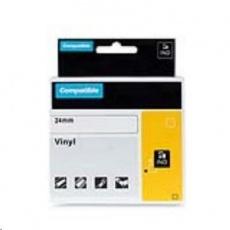 PRINTLINE kompatibilní páska s DYMO 1805432, 24mm x 5,5m, bílý tisk / černý podklad, RHINO, vinylová