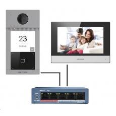 HIKVISION DS-KIS604-S (EU) sada IP Interkomu (dveřní jednotka + monitor + PoE switch)