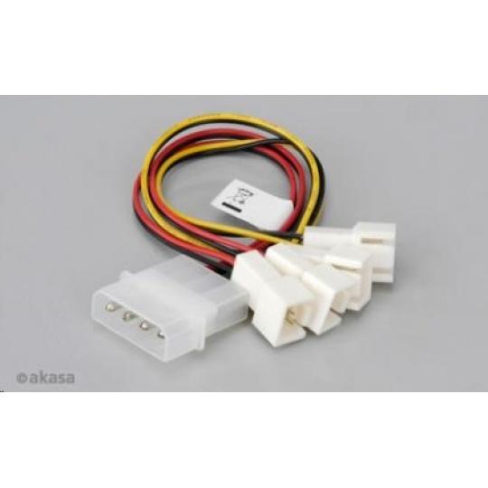 AKASA kabel  redukce Molex na 4x 3-pin fan konektor