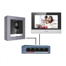 HIKVISION DS-KIS602 (EU) sada IP Interkomu (dveřní jednotka + monitor + PoE switch)