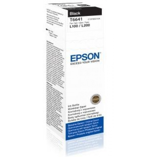 EPSON ink čer T6641 Black ink container 70ml pro L100/L200/L550/L1300/L355/365