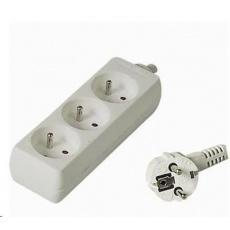 PREMIUMCORD Prodlužovací přívod 230V 3m, 3 zásuvky, bílá