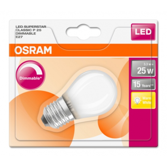 OSRAM LED SUPERSTAR CL P GL Fros. 3W 827 E27 250lm 2700K (CRI 80) 15000h A+ DIM (Blistr 1ks)