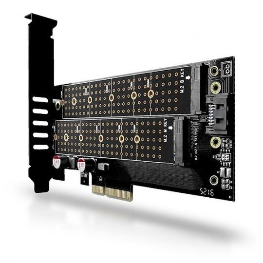 AXAGON PCEM2-D, PCIe x4 - M.2 NVMe M-key + SATA B-key slot adaptér, vr. LP