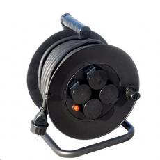 Solight prodlužovací přívod na bubnu, venkovní, 4 zásuvky, černý, 25m