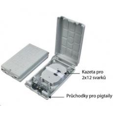 Optický plastový rozvaděč pro 24 svarů, 24 pigtailů, 2 kabelové porty, odklopná dvířka