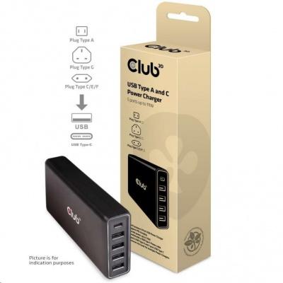 Club3D Nabíječka USB Typ A a C, 5 portů, 111 W
