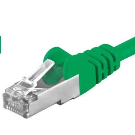 PREMIUMCORD Patch kabel CAT6a S-FTP, RJ45-RJ45, AWG 26/7 1m zelená