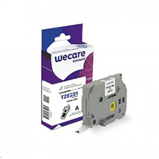 WECARE páska pro BROTHER TZE-231, Black/White, 12mm x 8m (TZE231)