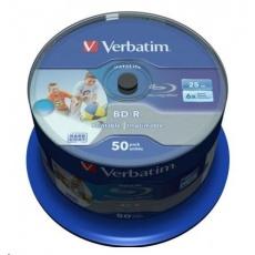 VERBATIM BD-R SL Datalife (50-pack)Blu-Ray/Spindle/6x/25GB Wide Printable