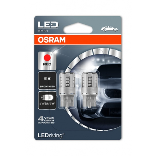 "OSRAM autožárovka ""W21/5W"" LEDriving® Standard 12V W3x16q červená (Blistr 2ks)"