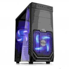 1stCOOL skříň JAZZ 2, Midi Tower, AU, USB 3.0, Blue FAN, Transparet Side, bez zdroje, Black