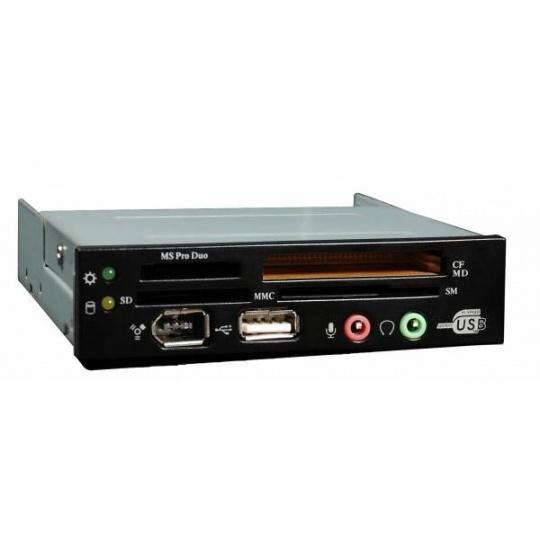 EUROCASE Card reader CR-03,AC97 + HD audio, Black USB 2.0, Firewire