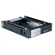 """AKASA HDD box Lokstor M21, 2x 2.5"""" SATA HDD/SSD do 3.5"""" interní pozice, černá"""