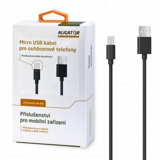 Aligator datový kabel s prodlouženým konektorem micro USB, 2A, délka 1 m, černá