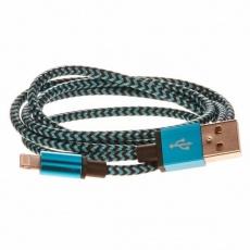 CELLFISH pletený datový kabel z nylonového vlákna, Lightning, 1 m, modrá
